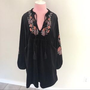 Anthro Lost + Wander Embroidered Velvet Dress NWT